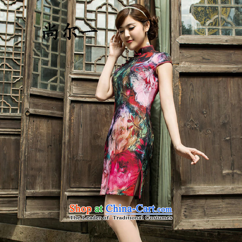 Yet, a summer retro improved cheongsam dress daily short, Sau San stylish girl, dresses map color?M