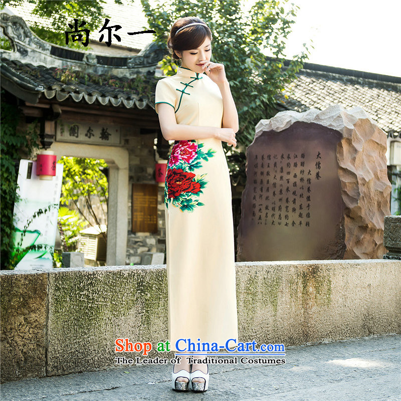 Yet, a new paragraph style improved day-to-day summer qipao China wind long skirt retro Silk Cheongsam long △6,585 map color?L