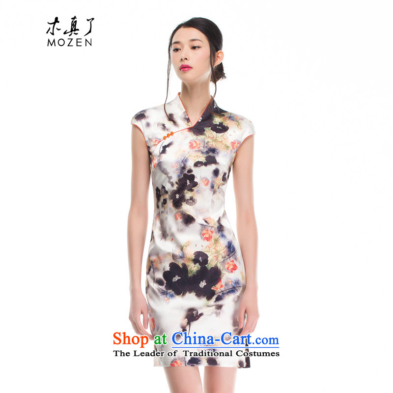 The women's true   inkjet printing silk cheongsam dress improved 2015 Summer stylish Sau San dresses 53343 07 Light Gray燬