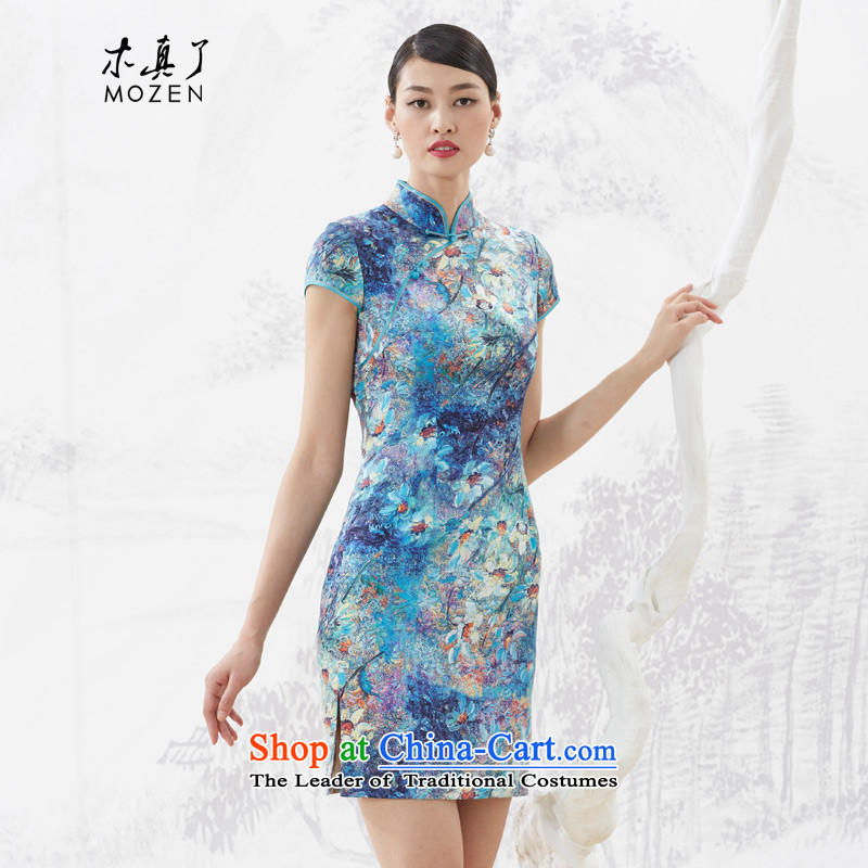 Wood, an improved cheongsam dress really Summer 2015 new products female elastic stylish silk Sau San dresses 53349 10 deep blue?XL