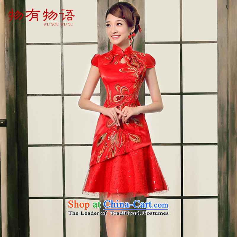 The Chinese have a drink in the爏ummer 2015 New Service happy bride wedding dress retro China wind improved cheongsam dress red燲XL