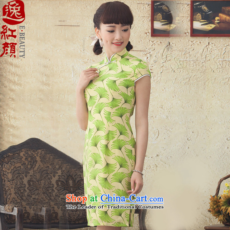 A Pinwheel Without Wind-liang ye聽2015 Yat new improved stamp qipao short spring summer daily cheongsam dress stylish suit聽2XL