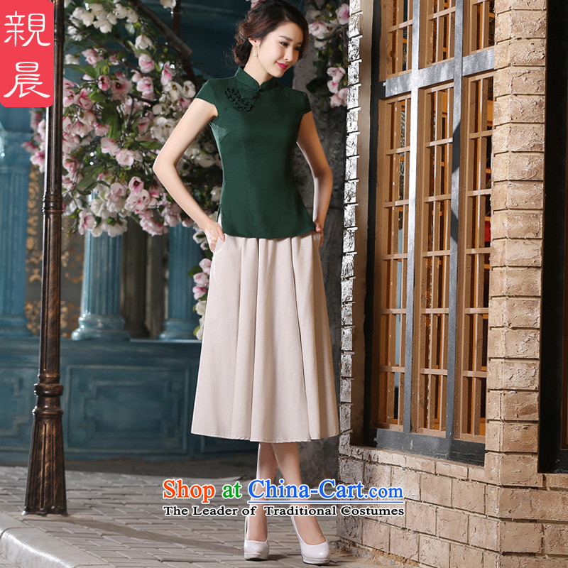 The pro-am daily new 2015 summer and fall with cotton linen clothes retro Ms. qipao short-sleeved in long skirt?MU473 shirt + m White Dress?2XL