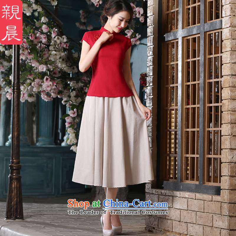 The pro-am new daily short 2015, cotton linen dresses red T-shirt retro improved Ms. stylish dresses�AV082 shirt + M white dress�did not consider the�size is too small a concept code
