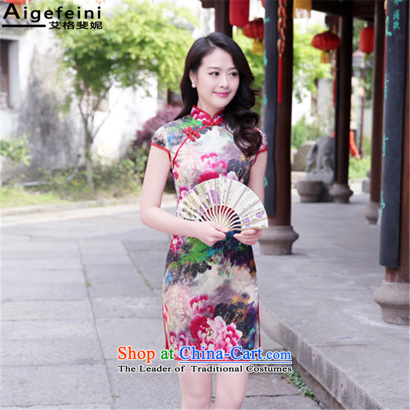The resulting Connie _aigefeini_2015 summer New Silk Cheongsam dress retro daily upscale improved cheongsam dress red Mudan燲XL