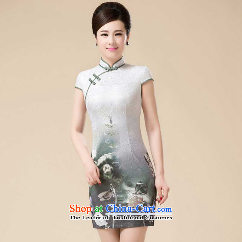 The new summer Stylish retro fitted cheongsam look like teenage Sau San Tong replacing niba improved dresses?HZMWL1813?Gray?L