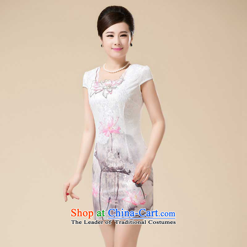 The new summer Stylish retro fitted snap-qipao girls temperament Sau San Tong load improved dresses�HZMWL1820�pink�XXL