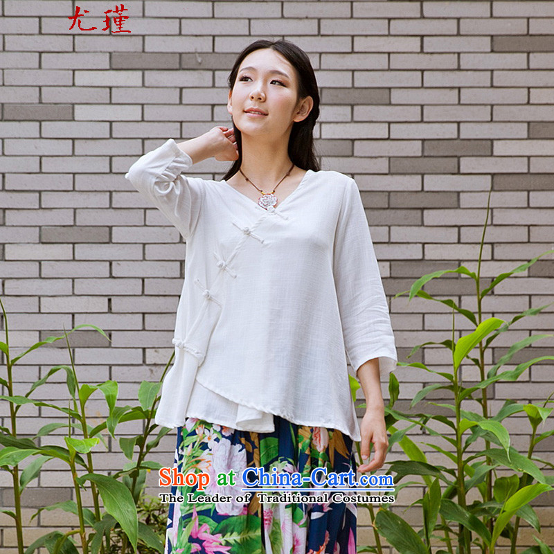 In particular爀thnic 2015 Keun-young Women's Summer Chinese clothing improved Tang dynasty retro Han-loose large code disk port T-shirt white燣