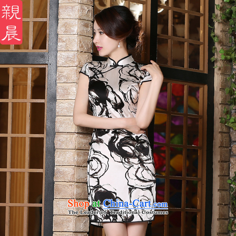 The new 2015 pro-am-to-day summer retro improved Ms. stylish heavyweight silk herbs extract cheongsam dress short?M