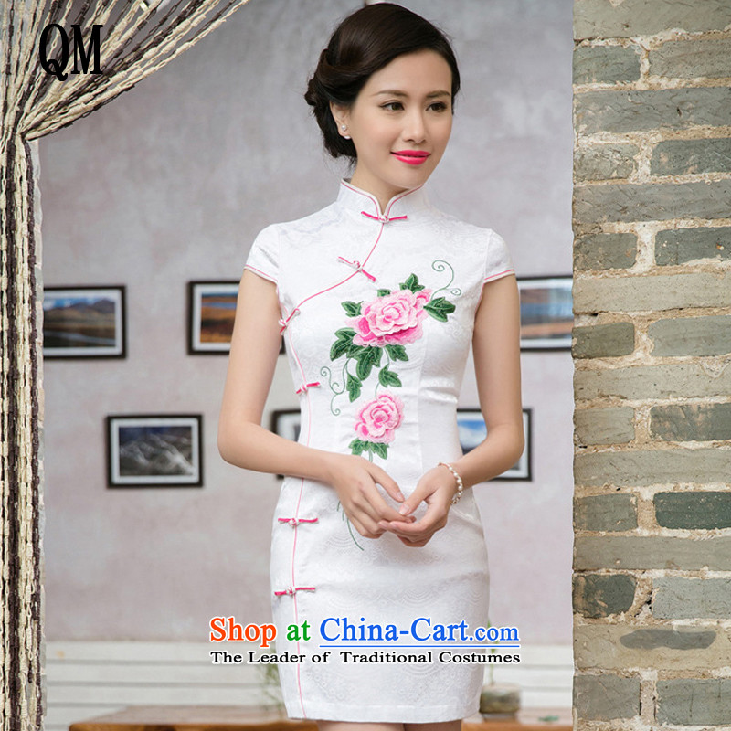 At the end of?summer 2015, very stylish and improvement of ethnic Chinese qipao Ms. stereo embroidered short sleeves cheongsam dress?JT5088?RED?XXL