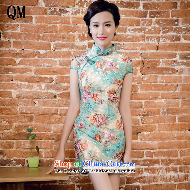 The end of the light gray velour poster printing Korean manual tray clip improved cheongsam dress燡T5082燝REEN燤