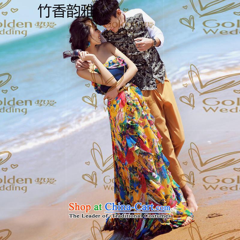 Chuk Heung and were the subject of the new 2015 wedding dresses stamp stitching cowboy wiping the chest long skirt skirt picture color燬