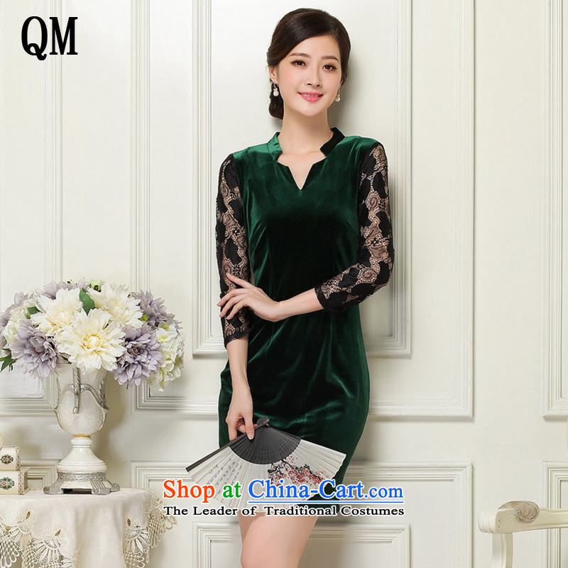At the end of light female scouring pads Sau San qipao deep V-Neck Fluoroscopy 7 cuff retro qipao燡T1060燿ark green燬