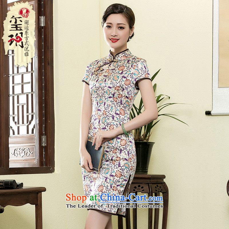 The seal of the new 2015 saika heavyweight Silk Cheongsam summer retro improved Shanghai republic of korea women cheongsam dress photo color燤