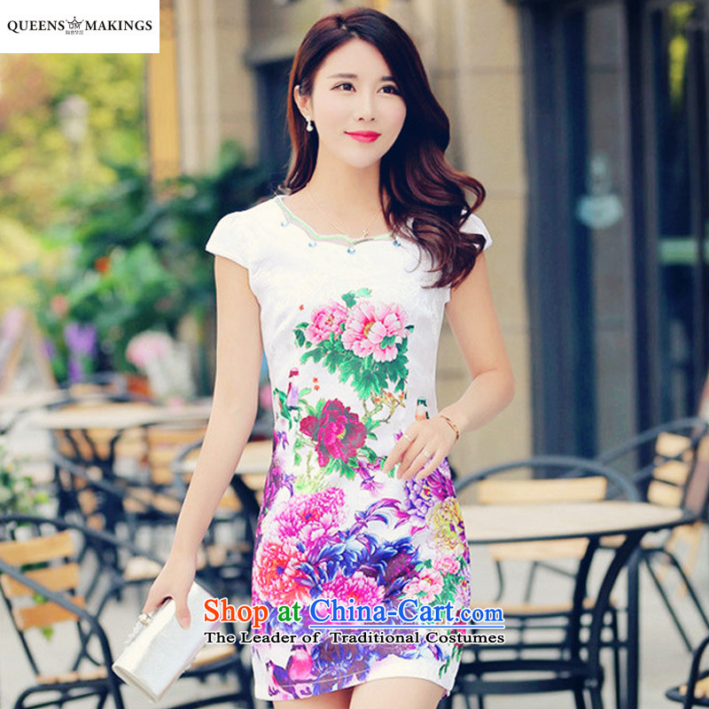 2015 Summer new women's dresses skirt stamp skirt retro China wind-day short-sleeved cheongsam dress photo color 1617燲L