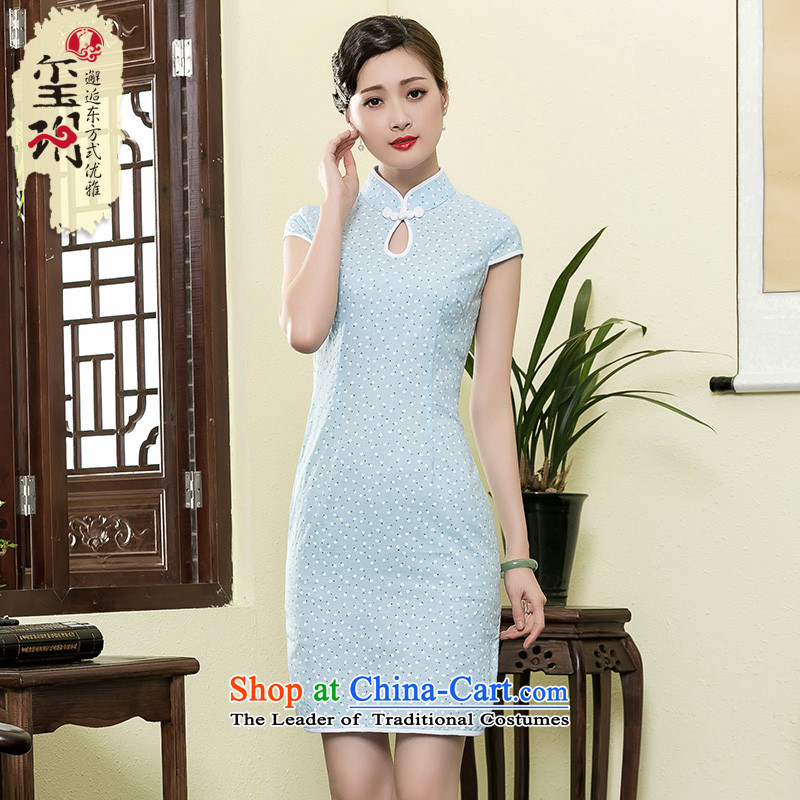 The seal of a new summer of 2015 cotton linen dresses daily improvement of Sau San Shu arts of the Republic of Korea wind cheongsam dress light blue燣