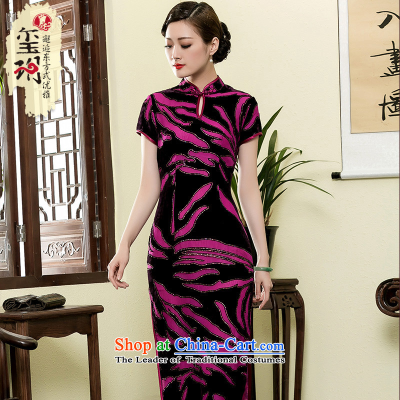 The seal of the Summer 2015 new long improved qipao scouring pads elegant middle-aged ladies mother cheongsam dress red and black燤