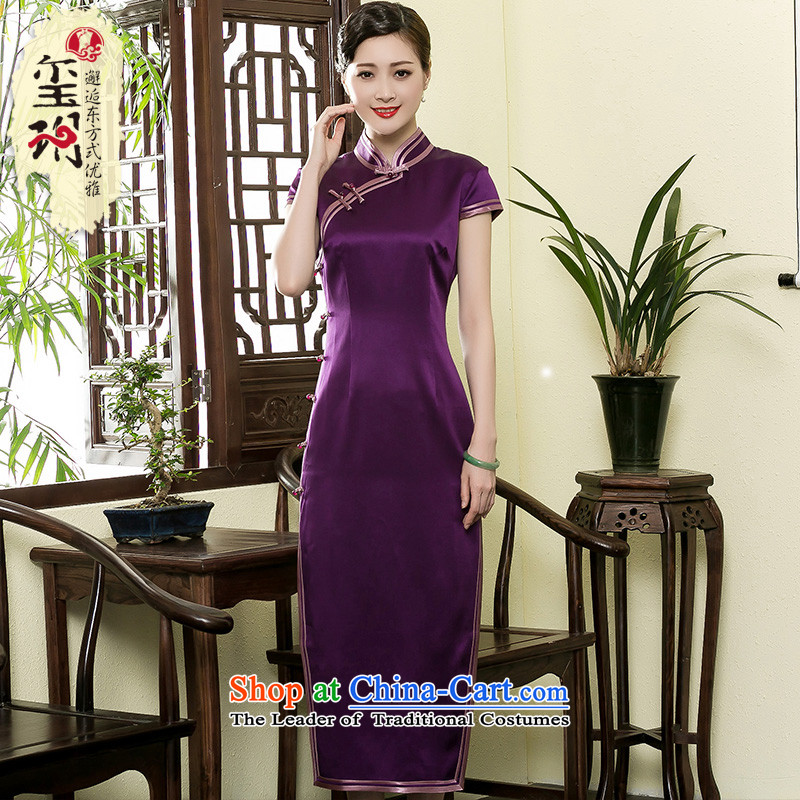 The seal of a new summer, Heavyweight Silk Cheongsam daily improvement of elegant qipao gown banquet dresses purple燬