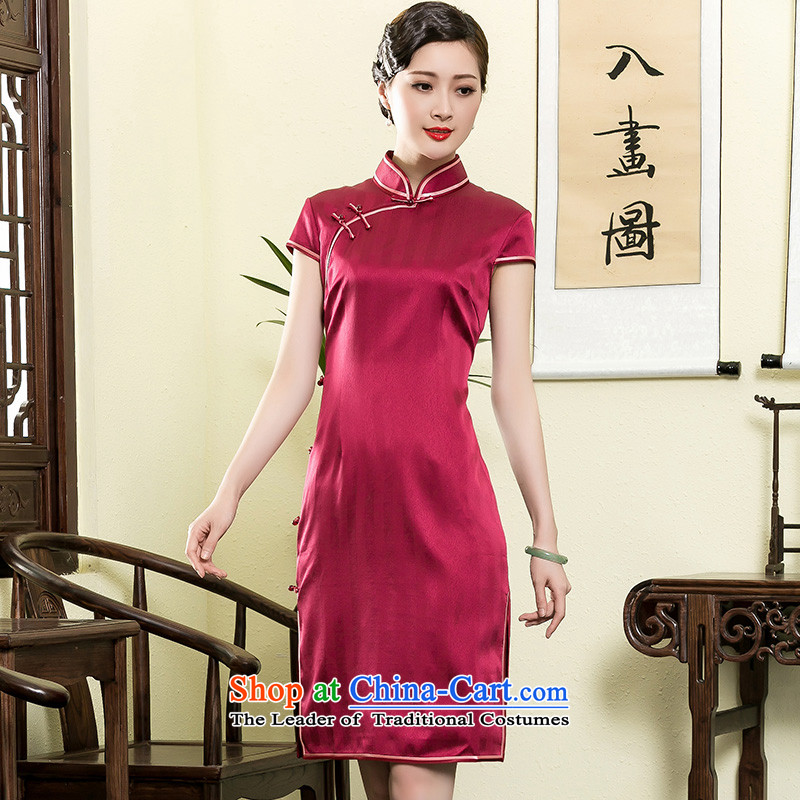 The Seal of heavyweight silk new summer, Ms. elegant qipao daily improved high-end fashion manually dresses RED燤