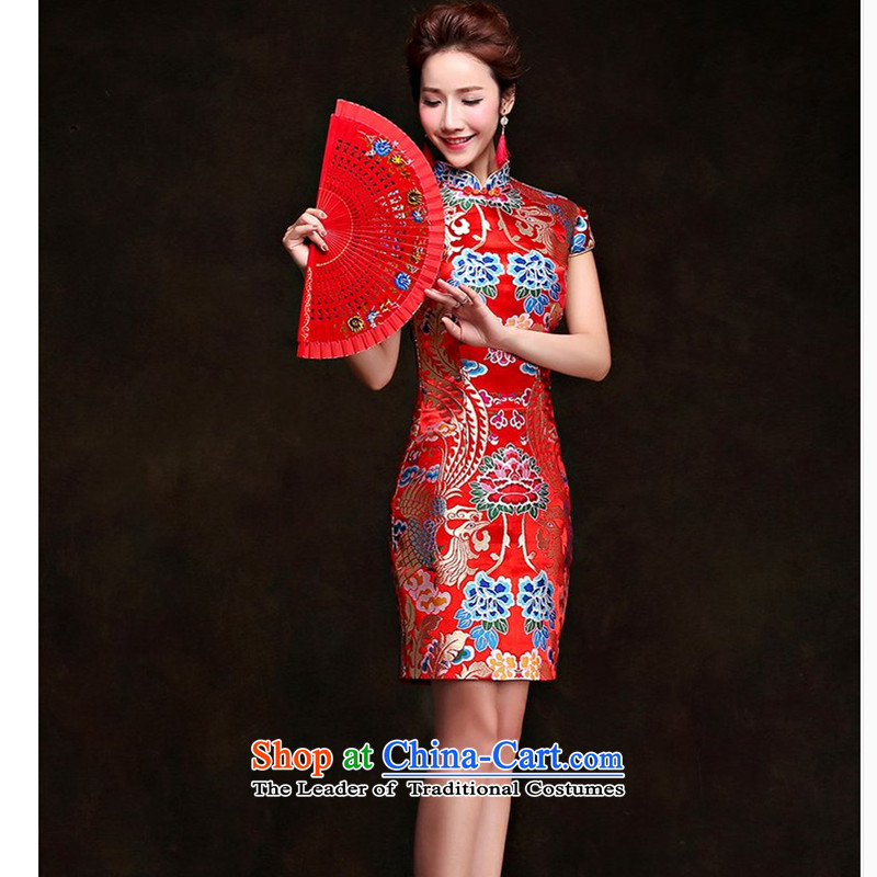The first white into about marriage qipao chinese women retro wedding dress bride dress 2015 new drink service of the spring and summer red tailored contact customer service