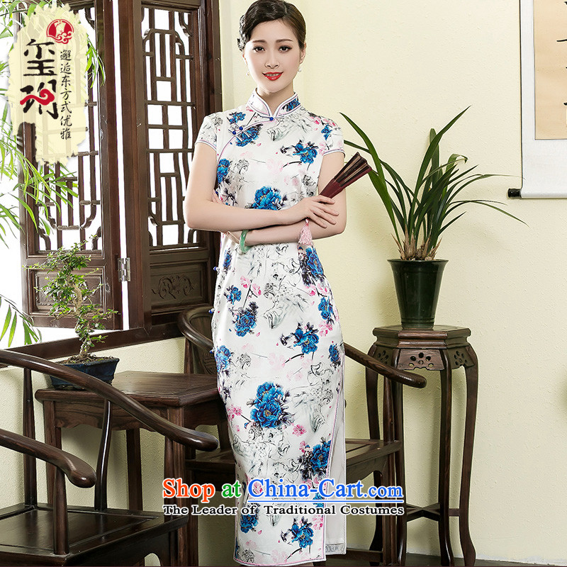 The seal of the Summer 2015 new heavyweight Silk Cheongsam retro , silk stamp long high-end fashion girl dresses picture color?L