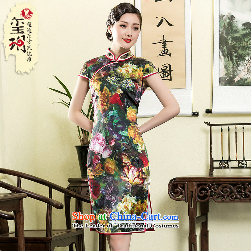 The seal of the Summer 2015 new heavyweight Silk Cheongsam digital printing Stylish retro improvement of old Shanghai Female dress photo color燣
