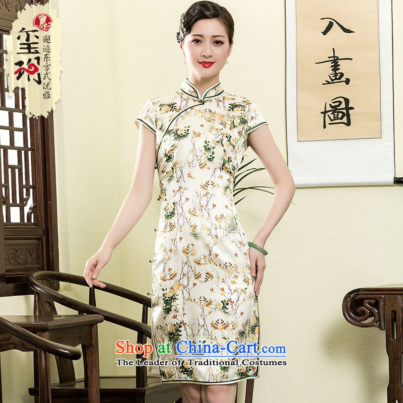 The seal of the Summer 2015 new heavyweight Silk Cheongsam retro aristocratic herbs extract short skirt pictures of President qipao color燤