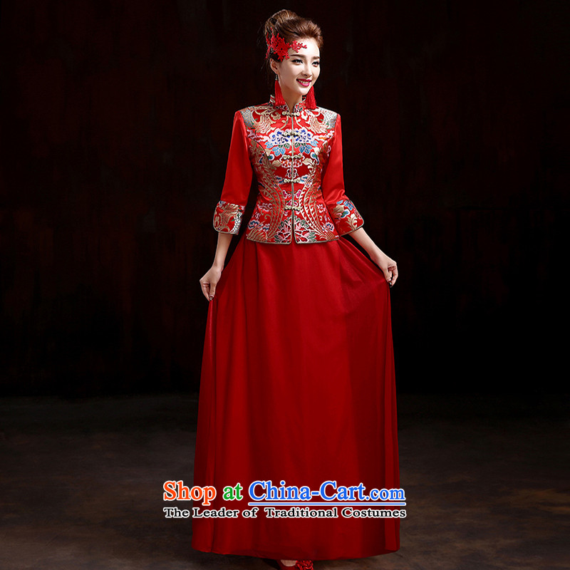 Pure Love bamboo yarn-soo Wo Service 2015 new high-end marriages qipao retro bows service kit qipao spring length of Chinese wedding dress RED M pure love bamboo yarn , , , shopping on the Internet