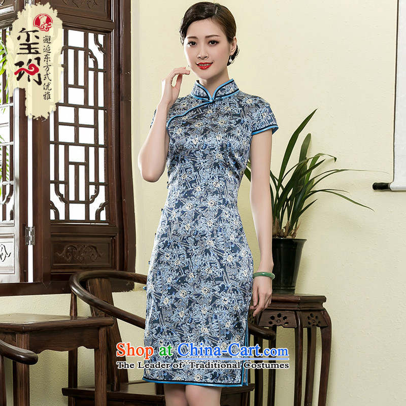 The Seal of 2015 heavyweight Silk Cheongsam shortage of day-to-day stamp improved elegance Ms. saika dresses picture color燣