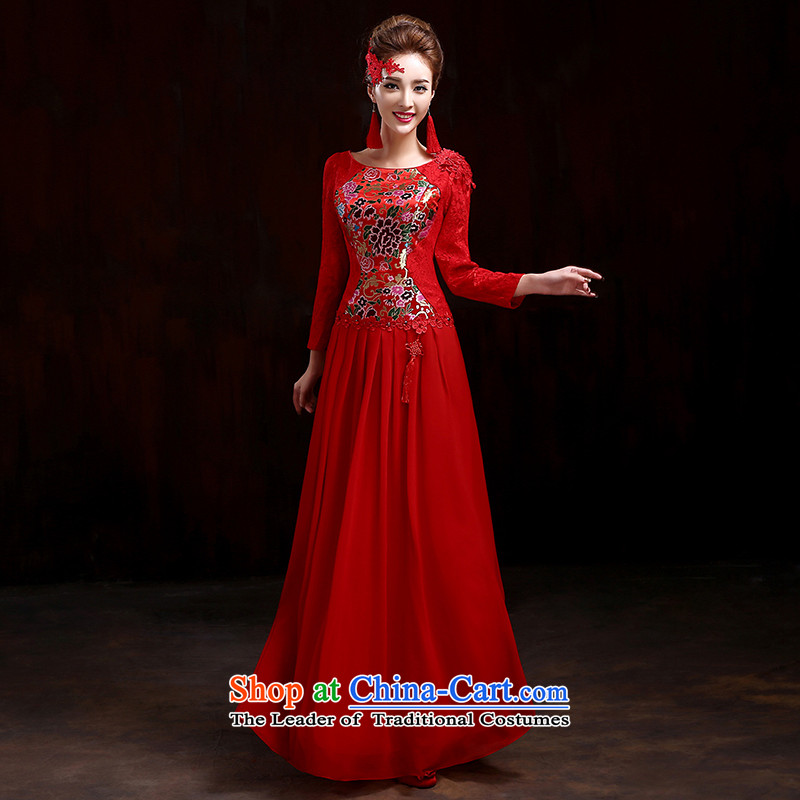 During the spring and autumn bride bows services 2015 new red marriage qipao gown Sau San stylish long-sleeved wedding dresses qipao gown red improved?XL