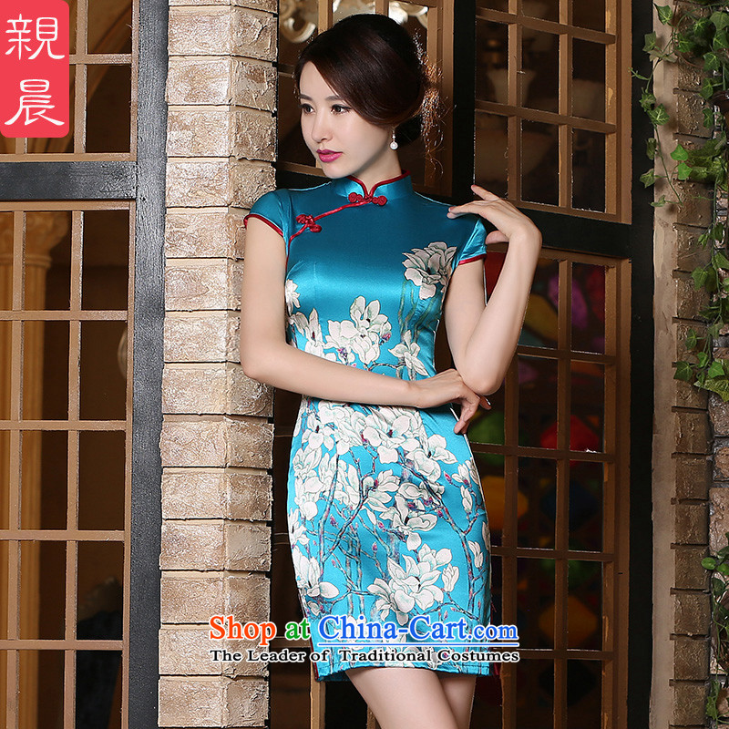 The pro-am daily new improvements by 2015 and the relatively short time, Ms. Short-sleeved heavyweight herbs extract silk cheongsam dress blue?2XL