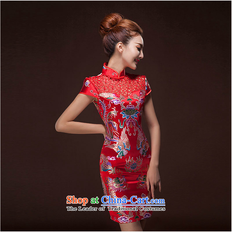 The first white into about?Lace Embroidery qipao 2015 skirt marriage Chinese new improvements, bridal dresses retro bows to female red?L
