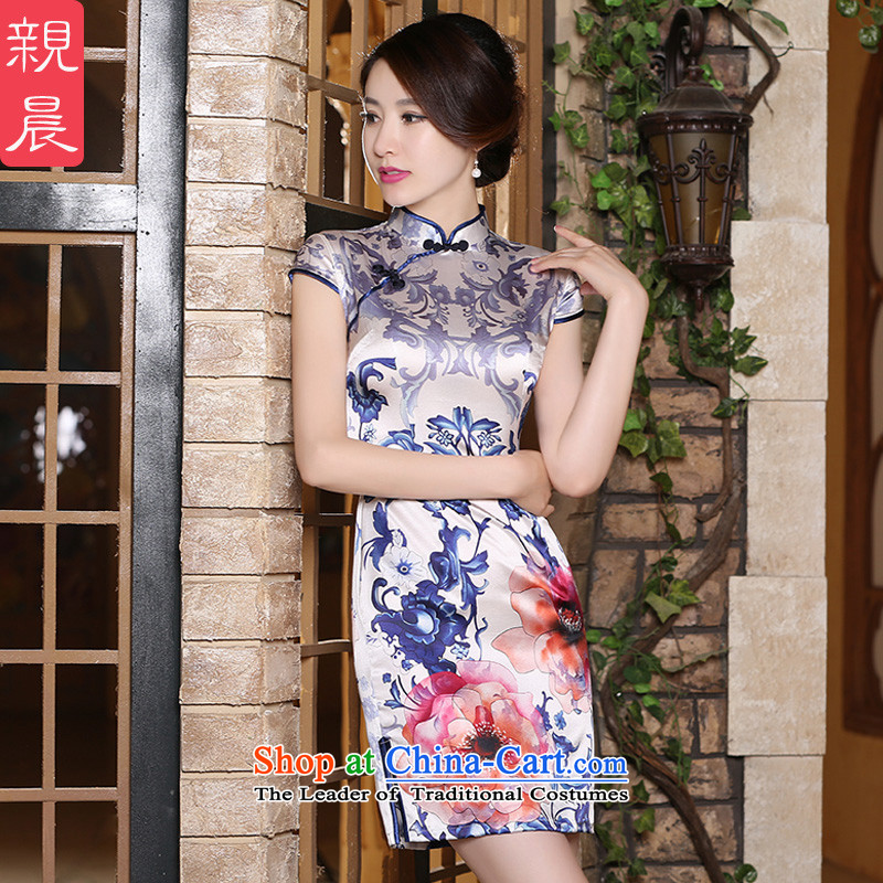 The pro-am new day-to-day summer 2015, improved and the relatively short time of heavy silk herbs extract cheongsam dress short?M