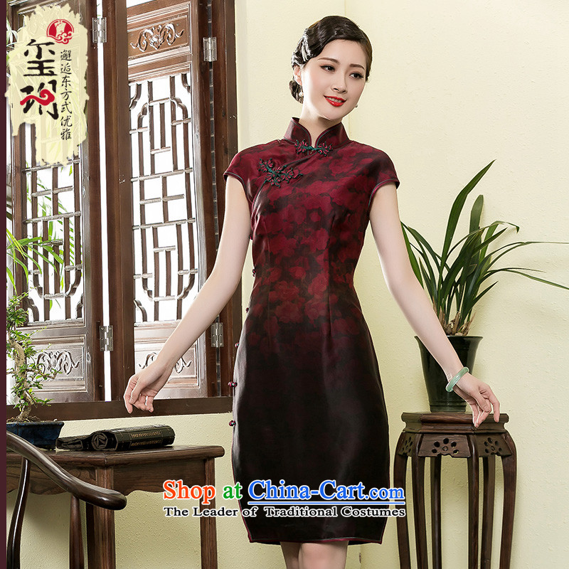 The seal of the Summer 2015 high-end-cloud dresses long qipao retro improved middle-aged daily silk cheongsam dress photo color?M