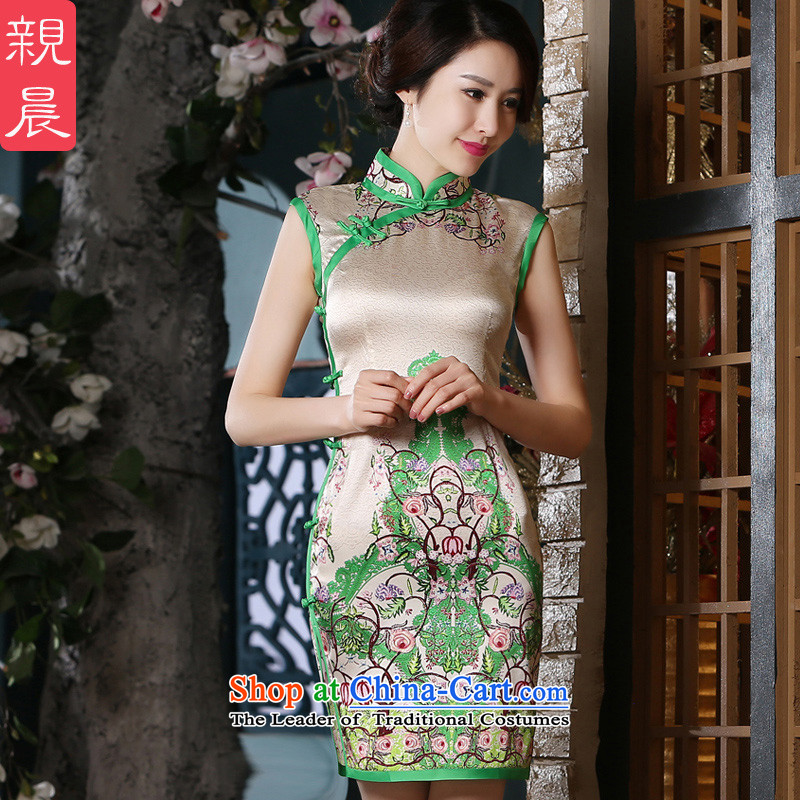 The pro-am daily new 2015 Sau San silk herbs extract retro sleeveless short, improved stylish cheongsam dress short燤