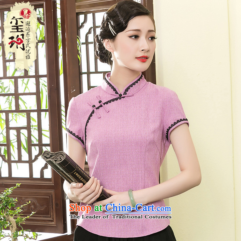 The Seal of 2015 Chinese minimalist short, Tang blouses elegant qipao ethnic improved shirt T-shirts pink燤