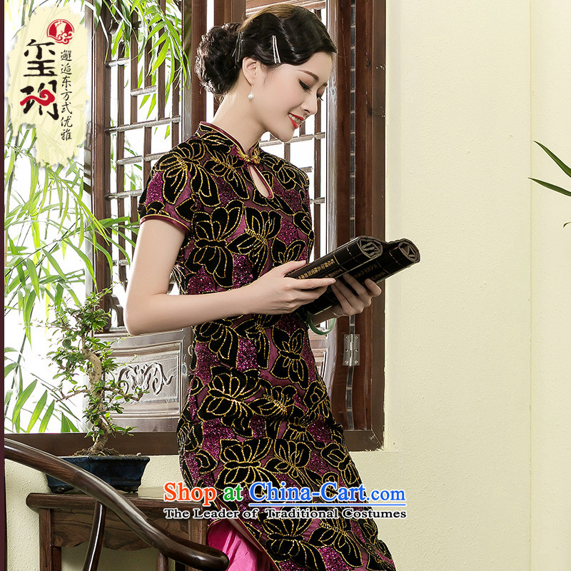 Seal of a new summer 2014) scouring pads long cheongsam dress daily improved mother female stylish taxi dresses picture color�L