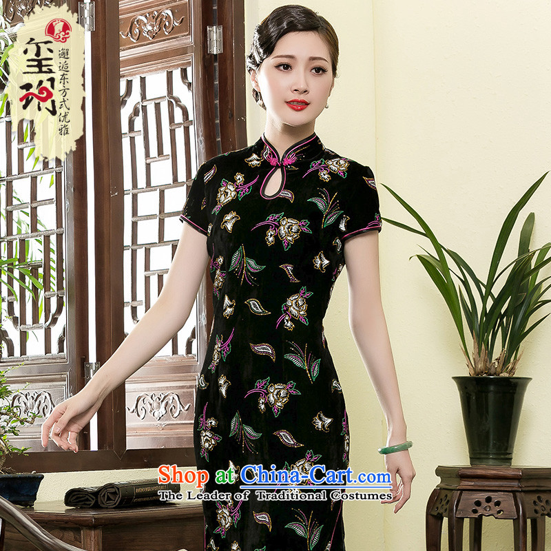 The seal of the Summer 2015 new long qipao gown improved mother scouring pads, stylish cheongsam dress photo color?XXL