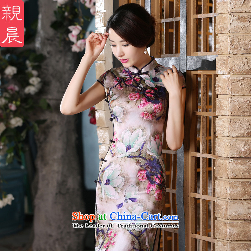 The pro-am retro style improvement of silk Sau San herbs extract long skirt-to-day summer 2015 new cheongsam long?XL
