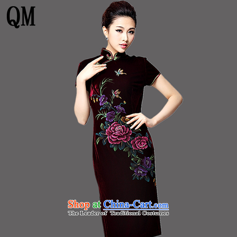 At the end of long-sleeved in light gray velour robes hand-painted Kim peony flowers in older mother married replacing Tang dynasty dress�AQE8868�wine red short-sleeved�XXL