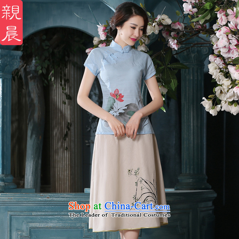 The pro-am summer daily ethnic women cotton linen Tang Dynasty Chinese Antique linen package improved female clothes A0079-a qipao +P0011 shirt skirt L