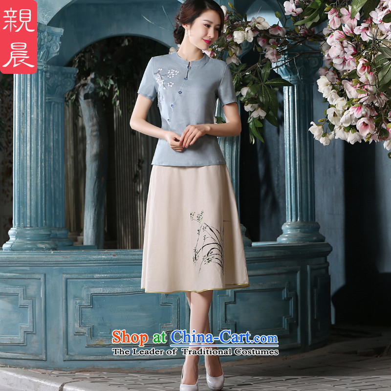 At 2015 new parent cheongsam dress in summer and autumn day-to replace Tang dynasty improved Han-girl Chinese cotton linen clothes?A0075 +P0011 shirt skirt?S