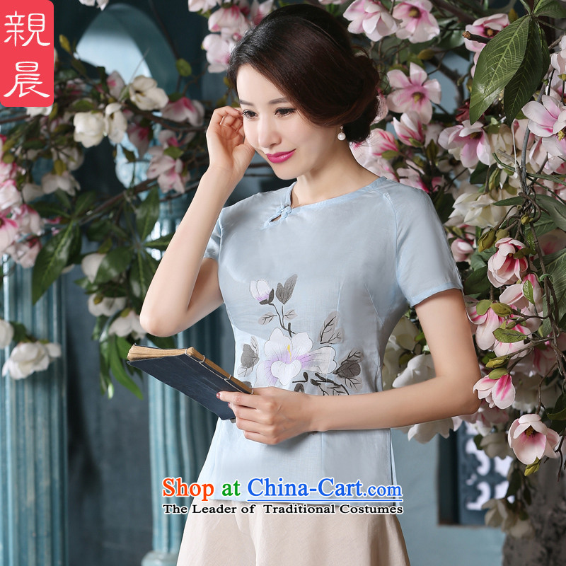 The new summer and fall of replacing daily short skirts improved retro cotton linen short-sleeved T-shirt燗0074 women cheongsam shirt�L