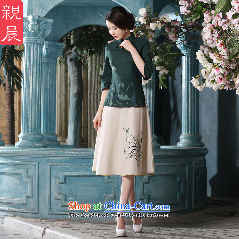 The pro-am daily new improvements by 2015 summer short-sleeved 7 cuff retro China wind kit cotton linen clothes燗0080-a qipao T-shirt +P0011 skirts燤