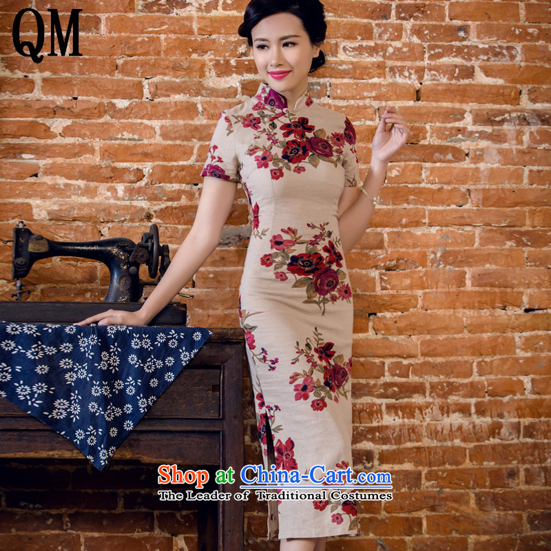 At the end of light cotton linen saika short-sleeved qipao retro in long skirt summer Chinese Hospitality Services Day Lilies?AQE2063?GARDEN?S