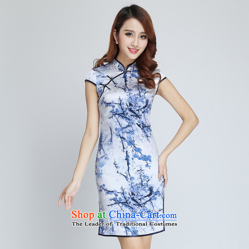 Herbs extract silk cheongsam dress spring video thin Sau San-to-day summer improved cheongsam dress short stylish L