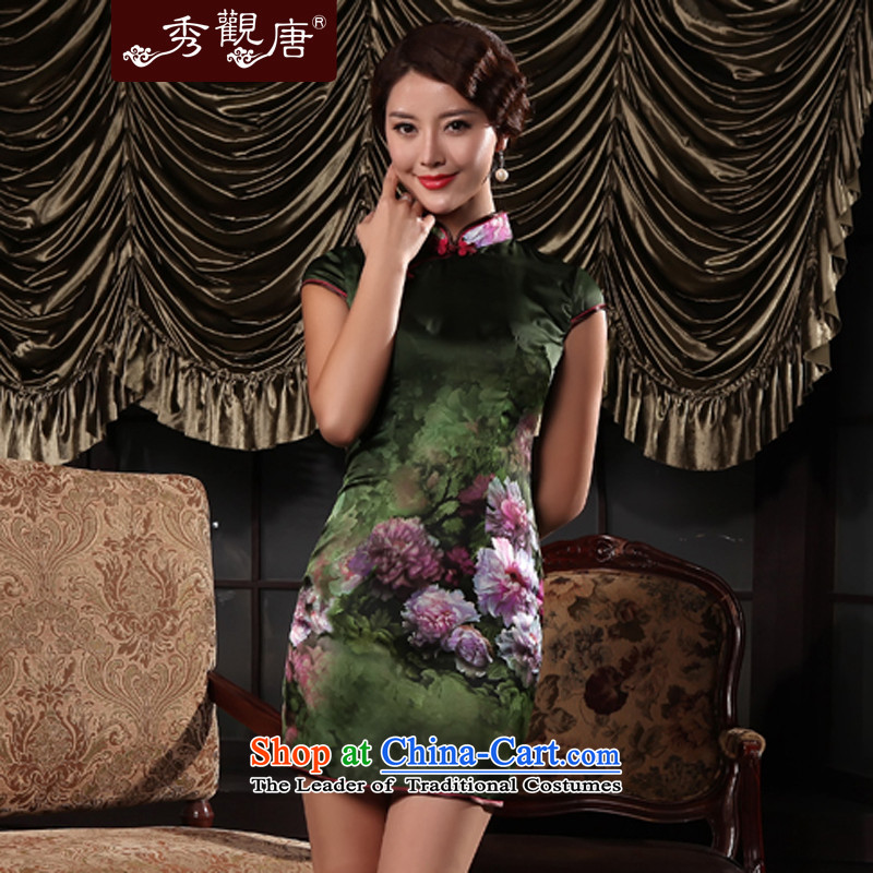 Sau Kwun Tong spend of sea classical videos qipao_summer retro thin, stylish improved picture qipao skirt color燣