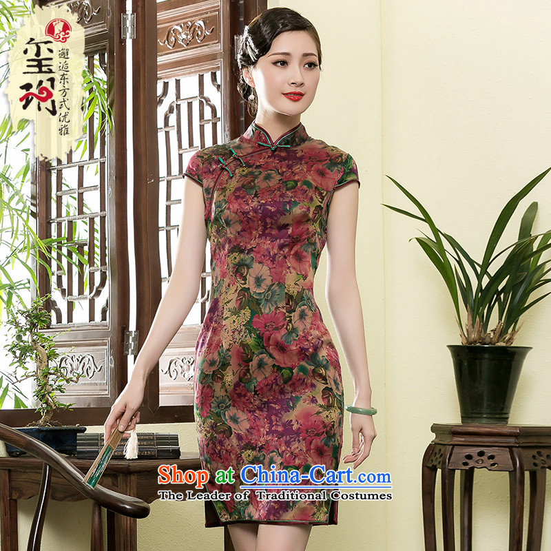 The Seal of 2015 Summer retro silk yarn cheongsam elegant cloud of incense Shanghai Daily Ms. improved dresses picture color燲L