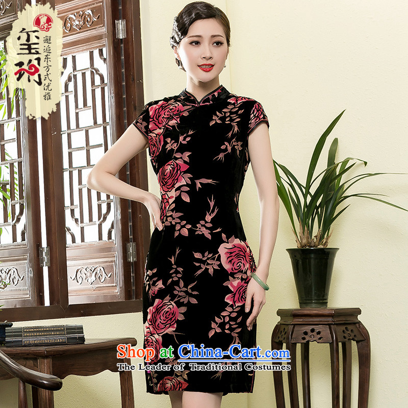 The seal of a new summer of 2015 rose Silk Cheongsam retro-burned Ms. elegant Chinese dresses燲XXL color picture