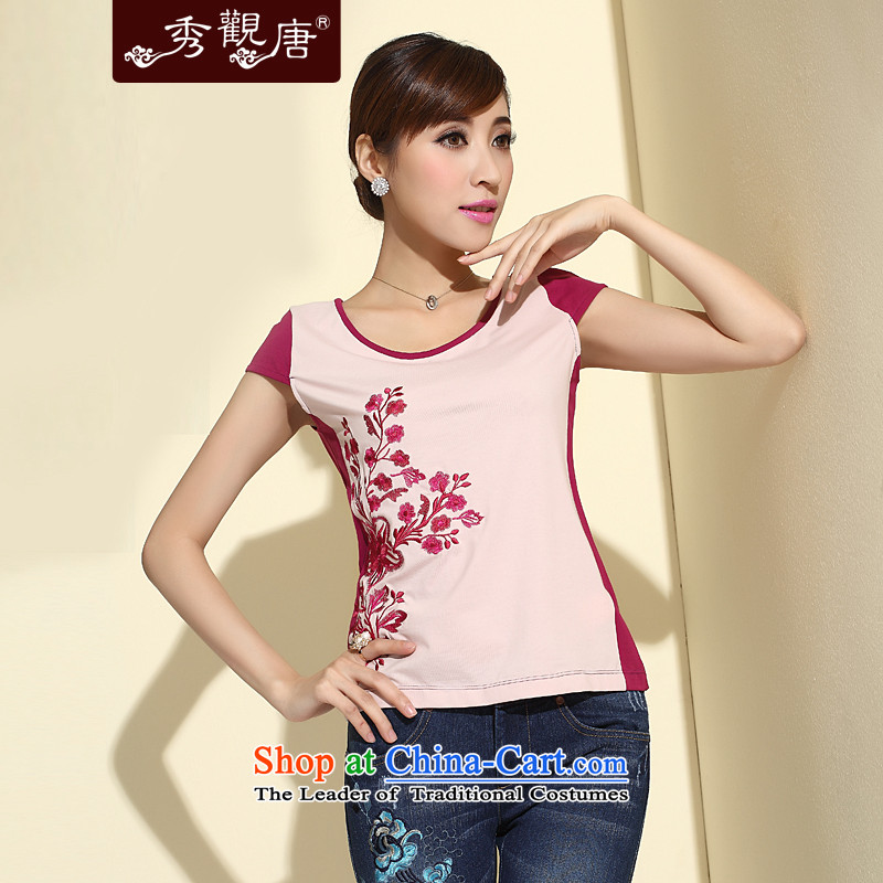 Sau Kwun Tong flowers pinellia 2015 Summer new short-sleeved T-shirt China wind female pure cotton short of a T-shirt pink�L